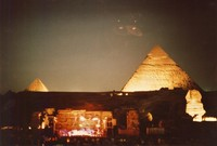 Grateful Dead in Egypt: distant view of the stage and pyramids