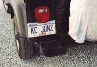 "Deadhead vehicle with ""KC JONZ"" Illinois license plate, ca. 1990"