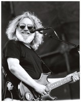 "Jerry Garcia, with his Stephen Cripe guitar, ""Lightning Bolt"""