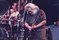 Jerry Garcia, with Mickey Hart, obscured
