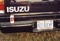 "Deadhead vehicle with ""NTFADEWY"" North Carolina license plate, ca. 1991"