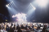 Grateful Dead, ca. 1993: stage lighting, unidentified crew members, and Deaheads