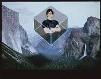 "Phil Lesh, ca. 1987: ""abstracted graphic image"" of Phil Lesh hovering in a cube floating over Yosemite Valley"