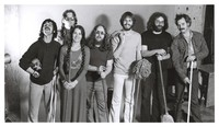 Grateful Dead publicity shoot at Club Front: Mickey Hart, Phil Lesh, Donna Godchaux, Keith Godchaux, Bob Weir, Jerry Garcia, Bill Kreutzmann