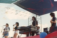 Kingfish at Ranch Rock '86: Matthew Kelly, Bob Weir, Anna Rizzo, Barry Flast, Steve Kimock, with Steve Evans in the background