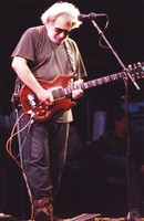Jerry Garcia, with his guitar, Rosebud, ca. 1990