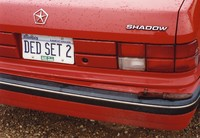 "Deadhead vehicle with ""DED SET 2"" Illinois license plate, ca. 1989"