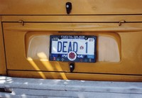 "Deadhead vehicle with ""DEAD 1"" Indiana license plate, ca. 1989"