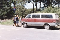 Deadhead vehicle by Golden Gate Park, with farewell messages to Jerry Garcia