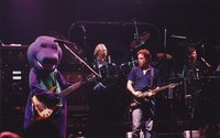 "Grateful Dead with Barney: Barney, Bill Kreutzmann, Bob Weir, Mickey Hart, during ""Iko Iko"""