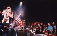 "Grateful Dead at the Oakland Coliseum Arena: ""Bill Clinton"" float during the Mardi Gras concert"
