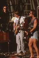 Grateful Dead, ca. 1991 (?): Phil Lesh and Bob Weir, with unidentified crew member in the background