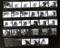 "Jerry Garcia, Danny Rifkin, Rock Scully, Carolyn ""Mountain Girl"" Adams: contact sheet with 27 images"