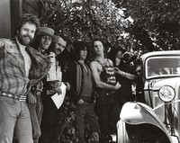 David Nelson, Spencer Dryden, Alton Kelley, Dave Torbert, Bob Weir, Jerry Garcia, and John Dawson at the Lincoln Street office