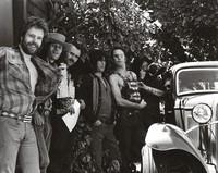 David Nelson, Spencer Dryden, Alton Kelley, Dave Torbert, Bob Weir, Jerry Garcia, and John Dawson at the Lincoln Street office
