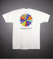 "T-shirt: ""Bill Graham Presents / STAFF"" - stealie, crane. Back: ""Grateful Dead / Shoreline Amphitheatre"" - image wheel"