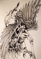 Grateful Dead merchandise: drawing of a skeleton holding a rose and a guitar, riding an eagle, that was part of a display at an unknown location