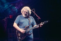 "Jerry Garcia, with the guitar ""Lightening Bolt"""