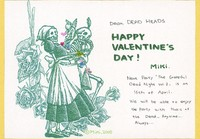 "Greeting card - ""Happy Valentine's Day"" with skeleton couple, bear angel, roses"