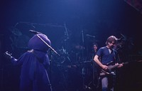 "Grateful Dead: Phil Lesh in ""Barney the Friendly Dinosaur"" costume,  Mickey Hart, Bob Weir"