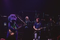 "Grateful Dead: Phil Lesh in ""Barney the Friendly Dinosaur"" costume, Bill Kreutzmann, Bob Weir, Mickey Hart"