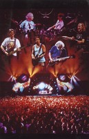 Grateful Dead: montage of portraits above a distant view of a stage