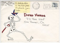 Decorated envelope with dancing skeleton