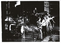 Grateful Dead: Keith Godchaux, Bob Weir, Donna Godchaux, and Jerry Garcia, with Bill Kreutzmann at left, obscured