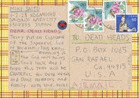 "Postcard - ""Dear Dead Heads / Jerry put on Costume of the Japanese God of Wealth"" with Jerry Garcia, bear, coins, turtles"