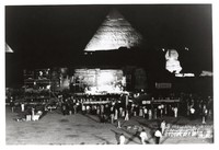 Grateful Dead in Egypt: Giza Sound and Light Theater with pyramids and Sphinx, at night