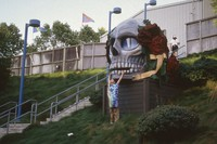 Deadhead and skull and roses sculpture, ca. 1988