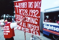Demonstrator with a sign predicting the Rapture, ca. 1992
