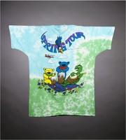 "T-shirt: ""Grateful Dead / Spring Tour"" - bears in VW bug, turtle, skeleton biplane pilot. Back: ""Spring Tour"" - bears, turtle"