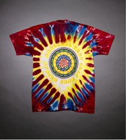 "T-shirt: stained glass stealie. Back: ""Spring Tour 1994"" - rose window"