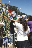 Memorial for Jerry Garcia: mourners with a large Gumby doll