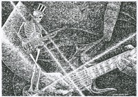 Illustration of Jerry Garcia playing guitar [detail], with skeleton guitar player