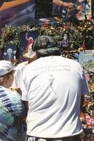 "Memorial for Jerry Garcia: ""Box of Rain"" lyric on a T-shirt"