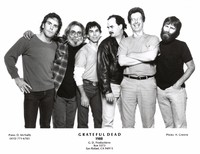 Grateful Dead 1988 publicity photo for Arista Records taken at Club Front: Bob Weir, Jerry Garcia, Mickey Hart, Bill Kreutzmann, Phil Lesh, Brent Mydland