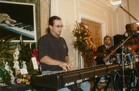 Jeff Chimenti at Johnnie Johnson memorial, with unidentified drummer