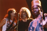 "Carlos Santana, Jerry Garcia, and Babatunde Olatunji (?), performing ""Fire On The Mountain"""