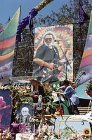 Memorial for Jerry Garcia: portrait of Jerry at the altar collection, with large Gumby doll