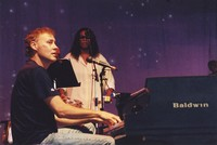 Bruce Hornsby, with Debbie Henry in the background