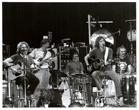 Grateful Dead for an acoustic set, ca. 1970s: Jerry Garcia, Phil Lesh, Mickey Hart, Bob Weir, Bill Kreuztmann