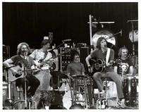 Grateful Dead for an acoustic set, ca. 1970s: Jerry Garcia, Phil Lesh, Mickey Hart, Bob Weir, Bill Kreuztmann