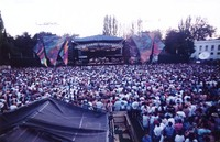Grateful Dead at the Seattle Center Memorial Stadium: distant view of the stage