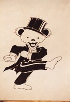 Grateful Dead merchandise: black and white drawing of the last (pink) so-called dancing bears by Bob Thomas, depicted in a tuxedo and top hat, that was part of a display at an unknown location