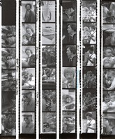 Musicians and Bay Area notables, ca. 1970s: contact sheet with 35 images