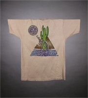 "T-shirt: ""Vegas Dead "" bull skull stealie, cactus. Back: ""Come Grow the Scorched Ground Green / June 24, 25, 26, 1994 / Sam Boyd Silver Bowl / Las Vegas, Nevada"" - cactus, coyote skeleton"