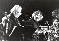 Ken Nordine, David Grisman, and Joe Craven during the San Francisco Jazz Festival