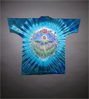 "T-shirt: ""Grateful Dead"" - sun, waterfall, crystals, butterflies. Back: ""Spring Tour 92"" flowers"